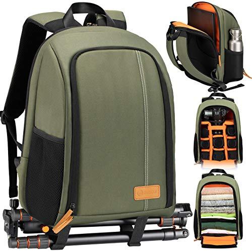 TARION TB-02 Zaino Fotografico Porta Piccolo Zaino Fotocamara Laptop Trekking Impermeabile per PC 15  Camara Reflex Obiettivo Treppiede Zaino Macchina Fotografica Compatto (verde)