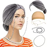 Old Lady Custume Set-Grandmother Wig,Wig Caps,Madea Granny Glasses, Eyeglass Retainer Chain,Pearl Necklace(5 Pieces) Fits All (Style-8)