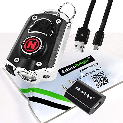 NEBO Mycro 400 Lumen USB Rechargeable Keychain/Key Ring Pocket Flashlight EDC 6714 with EdisonBright USB charging Adapter Bundle (Black)