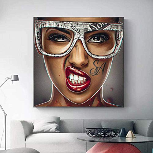 De La Lona Sala De Decoracion Sin Marco Arte Abstracto Arte Fresco Chica Chica con Gafas Cuadros Tatuaje Mujer Retrato Moderno Pintura Pared Arte para Salon Pared 60×60cm