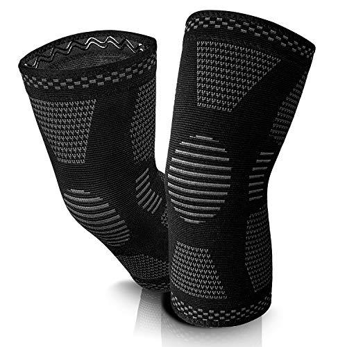 KIMENGO ® Kniebandage - Kniegelenkbandage mit 4fach-Kompression [2 STK] - schweißabsorbierend - atmungsaktives Gewebe - Rutschfester Bund - [4] Verschiedene Größen (XL)