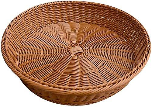 Cesta de almacenamiento redonda tejida de mimbre de 1 pieza Bandeja de pan Bandeja para servir alimentos Cuencos de frutas