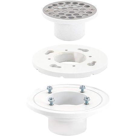 """EZ-FLO 15301 PVC Low-Profile Floor & Shower Drain, 2"""" x 3"""", White"""