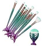 11PCS Makeup Brushes Set 3D Mermaid Make Up Foundation Eyeshadow Eyebrow Eyeliner Blush Cosmetic Powder Concealer Brushes Tools Kits Professional
