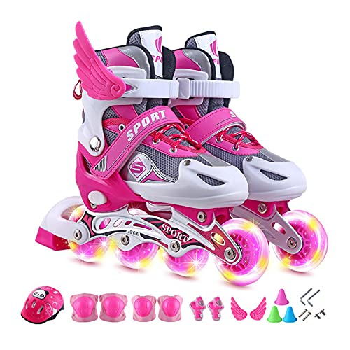 Tamaño de los patines en línea para niños con ruedas luminosas ajustables, patines en línea para hombre y mujer, patines en línea para niños de 3 a 10 años de edad