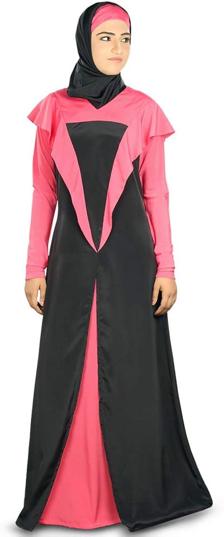 MyBatua Black & Sweet Pink Simply Designed Eid & Party Wear Muslim Abaya AY332