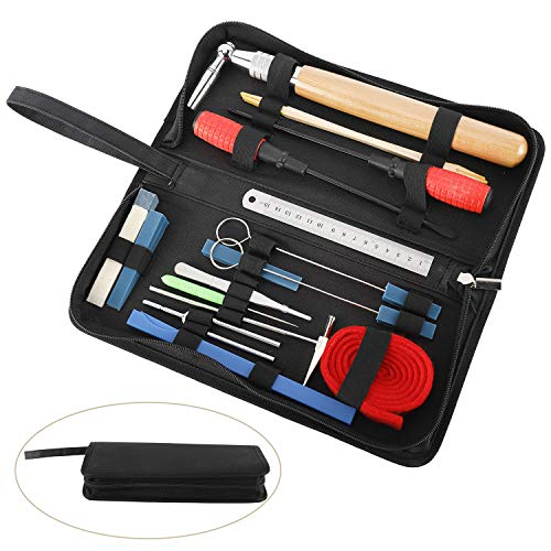 18 Pcs Professional Piano Tuning Kit, 17pcs Piano Tuner Tools and 1 Carrying Case, Star Head L-Shape Tuning Hammer, Mute Tool Kit, Tuning Fork, Temperament Strip, Piano Repairing Accessories