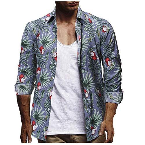 Cocila Herrenhemden Lässige Mode Böhmische Blumen Druck Strand Hawaiihemd Knöpfe Langärmeliges Revershemd