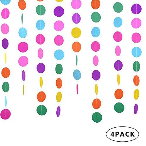 4 Packungen 4 Meter Runde Papiergirlande, Kreis Punkte hängen Dekorationen, für Geburtstagsfeier Hochzeit Brautparty Baby Shower Weihnachten