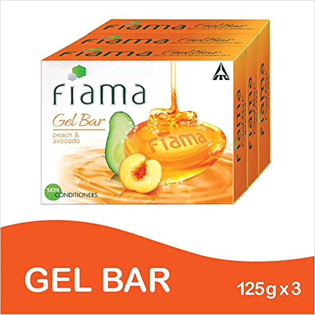 区別する試み結晶Fiama Gel Bathing Bar, Peach and Avocado, (3 * 125g)