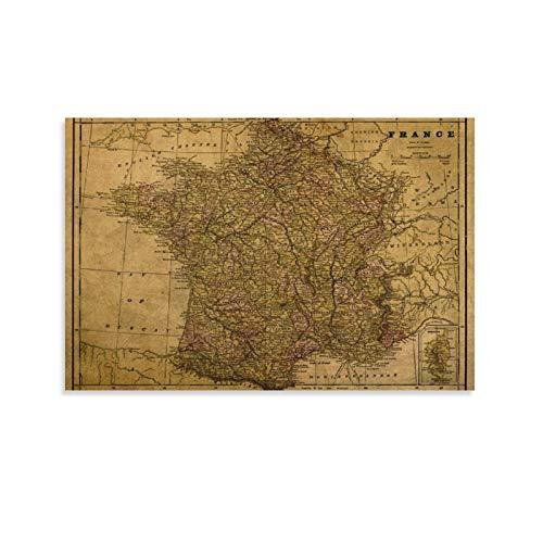 SDFSDF Carte de la France vintage 1892 sur toile - Art mural - Poster de voyage vintage - Pour la maison et le bureau - 30 x 45 cm