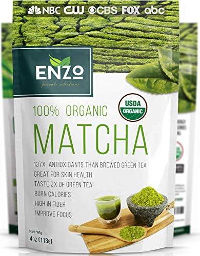 Matcha Green Tea Powder 4oz Organic Vegan Milky Taste USDA Certified 137x Antioxidants Over product image