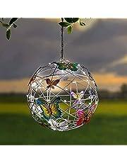 Vlinder Solar Light, tuinverlichting op zonne-energie, hangende mesh-bol met vlinders, roaming licht op zonne-energie, hangende verlichte bal, lichtketting voor tuin, looppad, binnenplaats, vakantie, kerstversiering