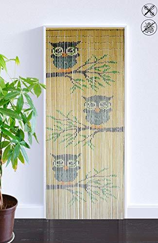 ABC Home Living Türvorhang | Insektenschutz | Fliegenschutz | Raumteiler, Bambus, Braun, 200 x 90 cm