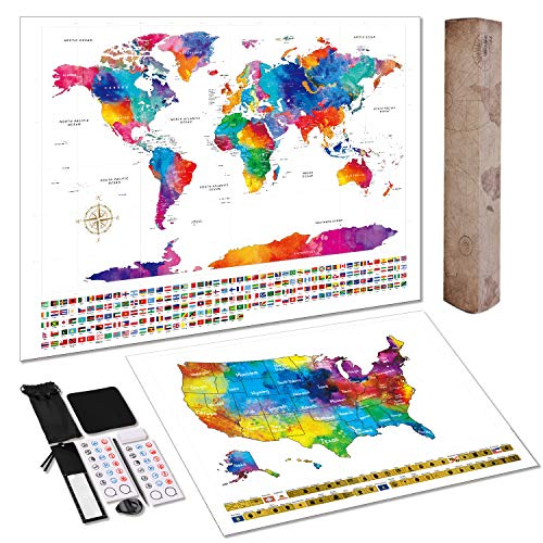 Scratch Off World Map + Extra Scratch Off USA Map Poster 23.5' x 16.5', Tracking Your Adventures. Including Complete Accessories Set, Country Flags. Easy Off, Glossy Finish, Perfect Gift for Traveler