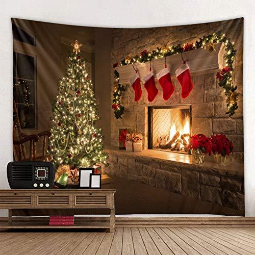 HJFGIRL Weihnachten Tapisserie Kamin Tapisserie Baum Weihnachten Rote Socken Tapisserie Urlaub Familienfeier Kinder Fotografie Hintergrund Dekoration Foto,B,230x180cm(91x71inch)