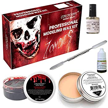 COKOHAPPY Halloween Party Stage Special Effects Wound Scar Nude Color Putty/Wax  1.76oz  + Fake Scab Blood  0.7oz  + Oil  0.17oz  + Spirit Gum Adhesive + Spatula Tool Family Makeup Kit