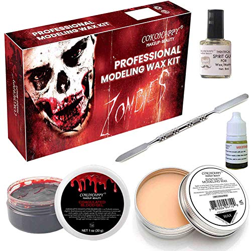 COKOHAPPY Halloween Party Stage Special Effects Wound Scar Nude Color Putty/Wax (1.76oz) + Fake Scab Blood (0.7oz) + Oil (0.17oz) + Spirit Gum Adhesive + Spatula Tool Family Makeup Kit