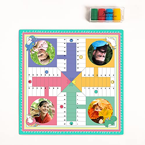 Fotoprix Parchís de 4 Jugadores Personalizado con Las Fotos y Nombres de los Jugadores | Juego de Mesa con Fotos Personalizadas | Diseño: Pastel
