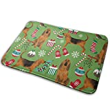Mxung Bloodhound Christmas Fabric Perros en Navidad Diseño Piso Verde Baño Entrada Alfombra Alfombrilla Absorbente Decoración de baño Interior Felpudos Caucho Antideslizante 15.7'X 23.5'