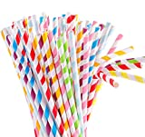 Tomnk 120pcs 8.85 Inch Flexible Bendy 8 Colors Rainbow Stripe Paper Straws Biodegradable Drinking Straws- Premium Eco-Friendly & Toxin-Free