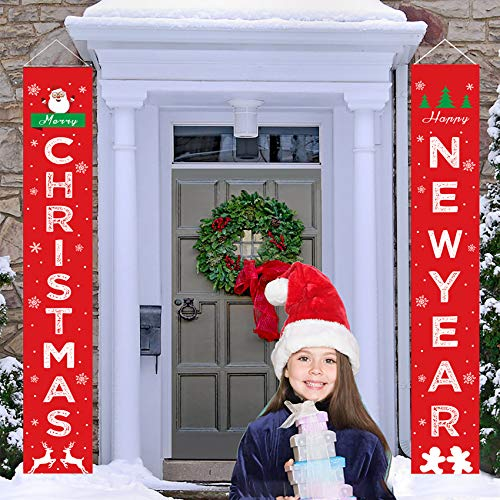 Acerich Christmas Porch Sign, Red Merry Xmas Banner Modern Farmhouse Christmas Decorations for Home Outdoor Wall Party Decoration- Merry Christmas & Happy New Year