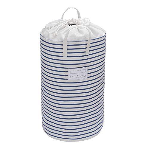 62L ランドリーバスケット 折り畳み式 洗濯かご ドローストリング開閉 防塵 子供玩具収納 収納ケース 分類カード付き, ストライプ柄・ブルー, 幅37×高さ58cm