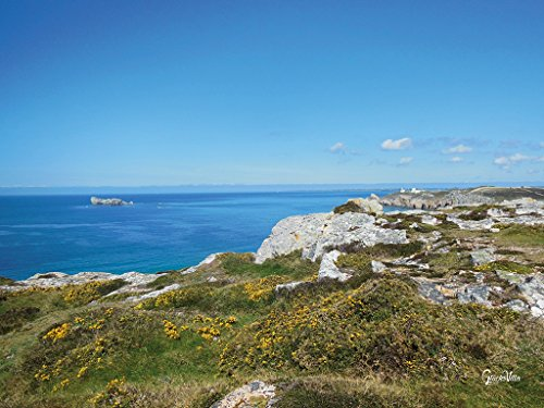 Bretagne - Mon amour 15 - Cuadro XXL (80 x 60 cm, horizontal, impresión sobre lienzo, marco de 2 cm), diseño del mar Atlántico de Francia, color azul, blanco y verde