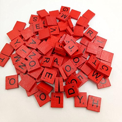 Gbell 100 Wooden Scrabble Tiles Black Letters Numbers for Crafts Wood Alphabets (Red)