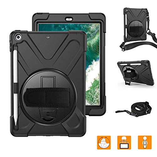 iPad 6th Generation Cases With Pencil Holder,Heavy duty Rugged Protective Shockproof Case Cover With Hand Strap/360 Degree Rotatable Stand/Shoulder Strap For 2018 iPad 9.7 inch Model A1893 A1954 Black