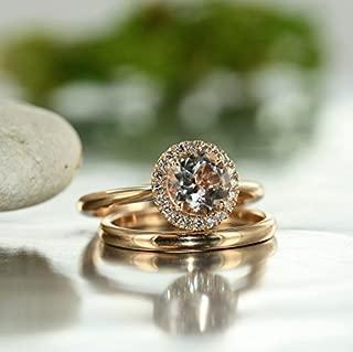 Balance-VS Diamond 7MM Round Morganite In 14K Rose Gold Halo Engagement Ring and 14K White Gold Wedding Band Bridal Set