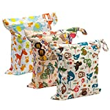 Biubee 3 Pack Wet Dry Cloth Diaper Bags - Baby Waterproof Washable Reusable