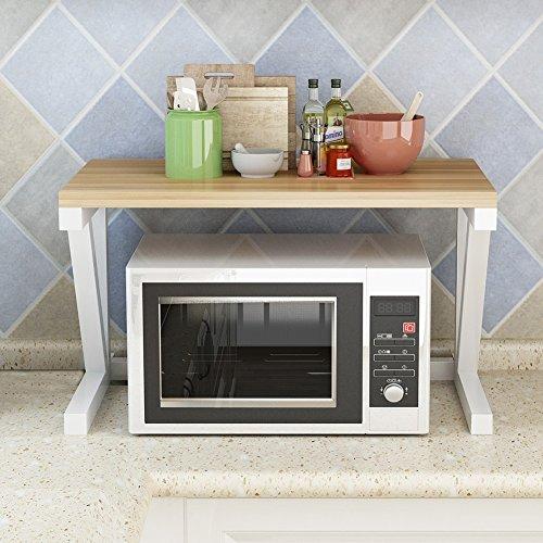 PENGFEI キッチン収納りキッチンラック収納棚用マイクロ波棚 オーブンラック フロアスタンド 多機能 調味料ボトル ブラケット 金属 単層、 10色 52x26x37CM ( 色 : Light walnut , サイズ さいず : White shelf )