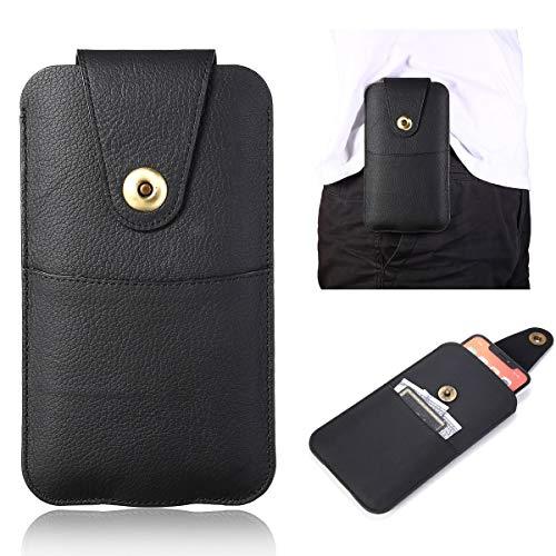 GUOQING Clips para cinturón de teléfono de cuero auténtico vertical de alta calidad con trabilla para el cinturón