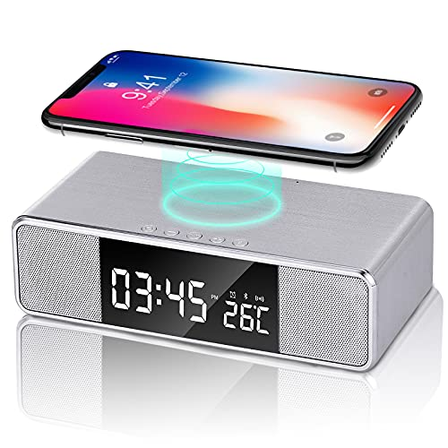 Digital Alarm Clock with Wireless Charging, Dual Bluetooth Speakers Desk Clock, Bedside FM Radio Clock, 3 Alarm Options,USB Charger Port, Dimmable LED Display Alarm Clock for Bedroom (Silver)