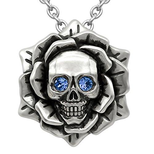 Skull Rose Birthstone Necklace with Swarovski Crystal 17' - 19' Adjustable Chain (09-September – Blue)