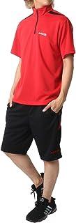 [ケイパ] ランニングウェア 上下セット ドライ ハーフジップ Tシャツ ジャージ ボトム ショートパンツ メンズ