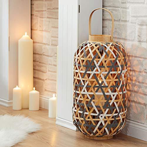 Cepewa XXL Designer Laterne │ Windlicht aus Weide mit Glaseinsatz │ Kerzenglas │ H 54 cm Ø 29,5 cm