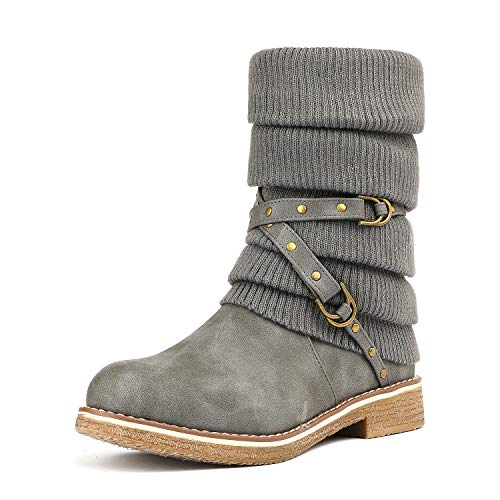 DREAM PAIRS Women's Oussie Grey Mid Calf Faux Fur Winter Boots Size 6.5 B(M) US