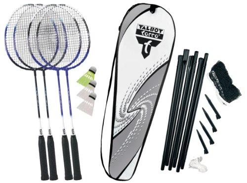 Talbot-Torro Premium Badminton-Set 4-Fighter, 4 Schläger, 3 Federbälle, komplette Netzgarnitur, in wertiger Tasche, 449517