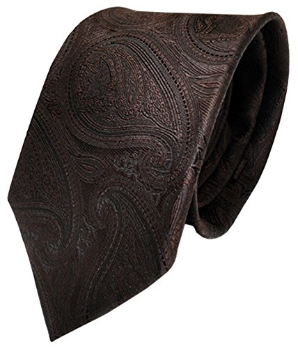 TigerTie TigerTie Designer Krawatte braun dunkelbraun paisley Muster - Binder Tie