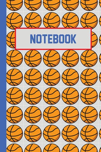 Notebook: Cool gray and blue basketball notebook lined journal