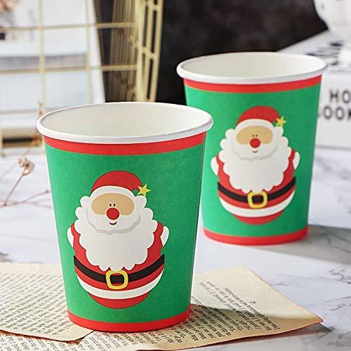 SZLGPJ Fiesta de Navidad vajilla desechable Buffet Fiesta Tema Taza Palillos creativos Plato de Cuenco Productos de protección Ambiental Cena 5'Papercups10