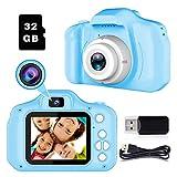 BAISIQI Fotografica per Bambini Giocattolo da Regali per Ragazzi da 3 an 8 Anni Fotocamera Digitale Selfie per Bambino Videocamera Video Giochi Bambino Schermo HD 1080P con 32 GB TF Card Joyfun(Blu)