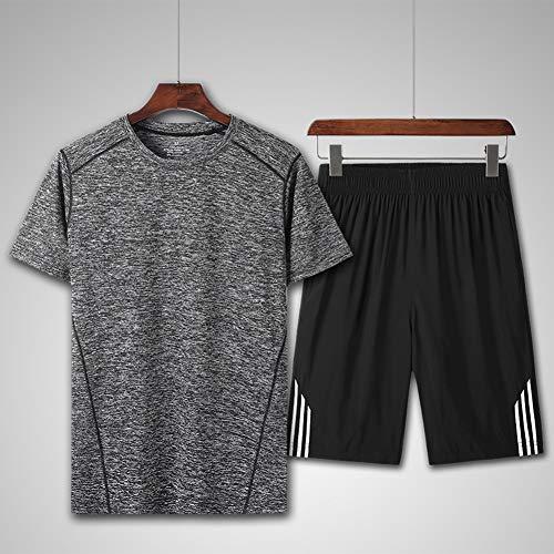 LIXIAOLAN Sommersport Anzug Marathon Joggen Sportler Abnutzung Jersey Gym Fitness Atmungs Quick-Dry Männer Sportbekleidung,E,5XL
