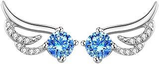 Belons - Pendientes de plata de ley 925 con circonita cúbica azul, pendientes de ala de ángel