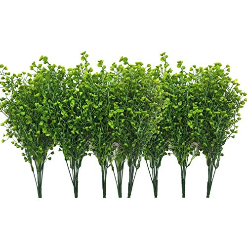 SODIAL Artificial Shrubs Bushes,12 Pcs Fake Plant Flowers, Artificial Bell-Shaped Leaves, for Hanging Flower Pots (Green)