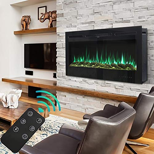 FIDOOVIVIA 50 Inch Electric Fireplace Recessed and Wall Mounted Electrical Fire Suite with 9 Flame Colour Effect & Remote Control, 220V-240V/50Hz, 900W/1800W