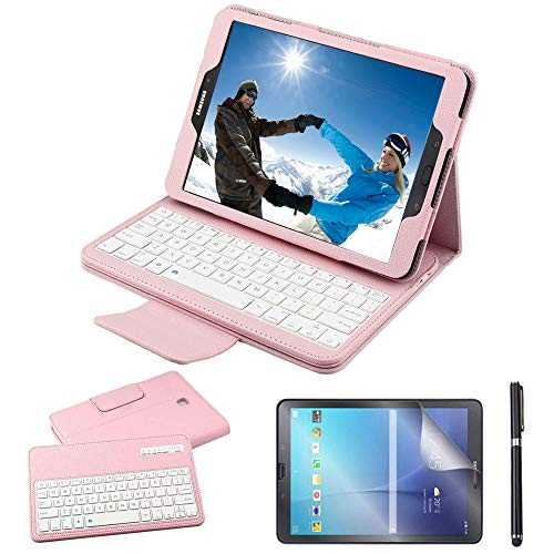 Galaxy Tab S2 9.7 Keyboard Case with Screen Protector & Stylus, REAL-EAGLE PU Leather Case with Detachable Wireless Bluetooth Keyboard for Samsung Tab S2 9.7 SM-T810 T813 T815 T819 Tablet, Pink