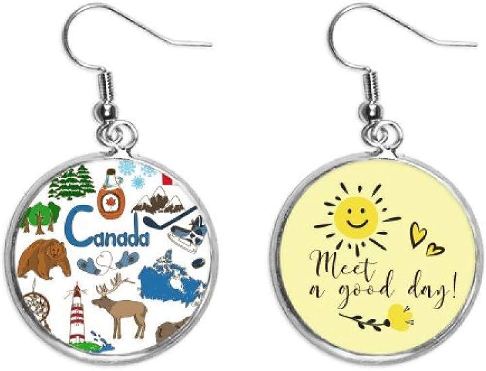Canada Landscap Animals National Flag Drop Finally resale Brand Cheap Sale Venue start Ear Flower Sun Earrin